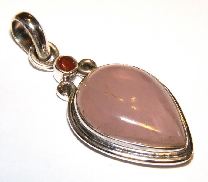 Rose Quartz And Carnelian Teardrop Gemstone Sts Pendant