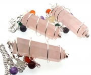 Rose Quartz Double Terminated Coil Pendulum with Chakra Gem Chain