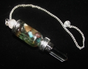 Ornate Floating Chakra Gems Dowser Pendulum - Rose Quartz