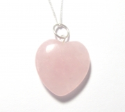 Rose Quartz Gemstone Heart Sterling Silver Pendant with Chain