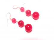 Rubellite Tourmaline Triple Sphere Leverback Earrings