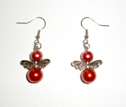 Rust Glass Pearl Angel Earrings