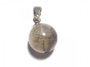 Rutilated Quartz Gemstone Sphere Pendant