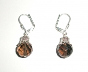 Smoky Quartz Facetted Sphere Earrings