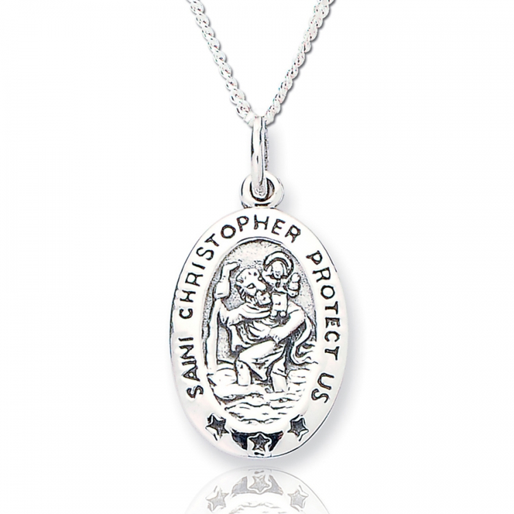 Saint Christoper Sterling Silver Pendant with Curb Chain