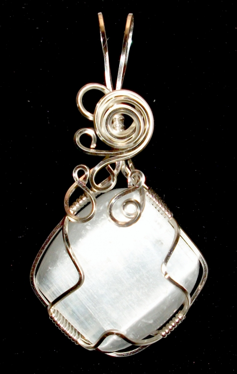 Selenite Wire Wrapped / Sculpted Gemstone Pendant