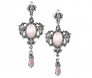 Seraph of Light Pink Baroque Pewter Dropper Earrings