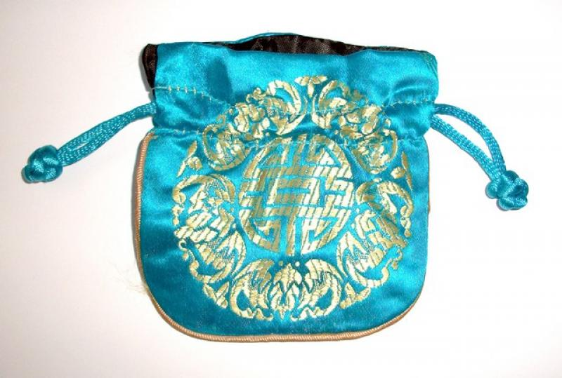 Gold Embossed Light Blue Chinese Silk Brocade Pouch