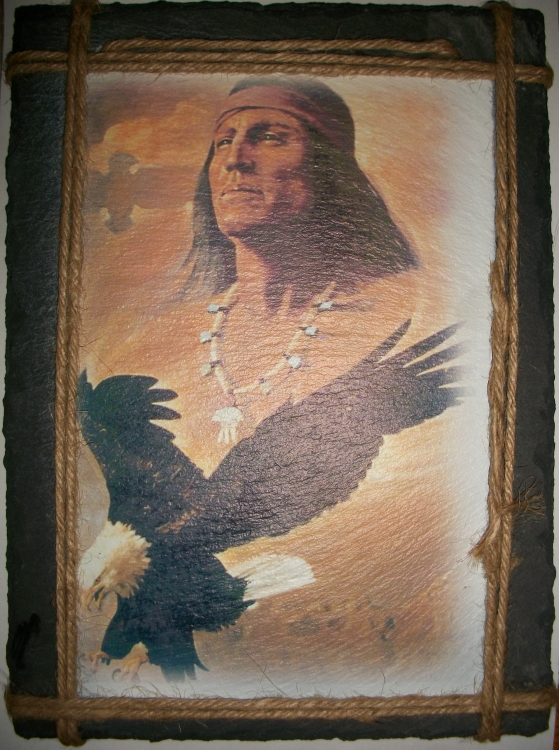 Native American and Eagle Slate Hanging Picture