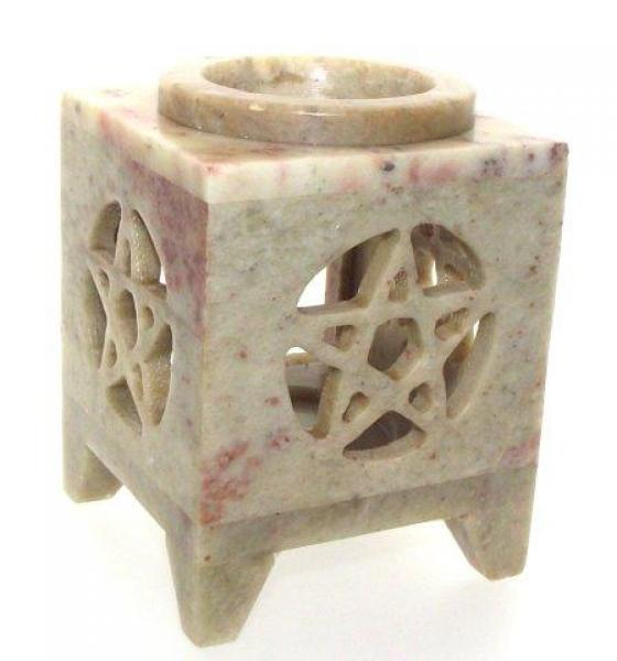 Soapstone Oil Pentagram Burner - Small