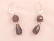 Smokey Quartz Double Drop Facetted Earrings