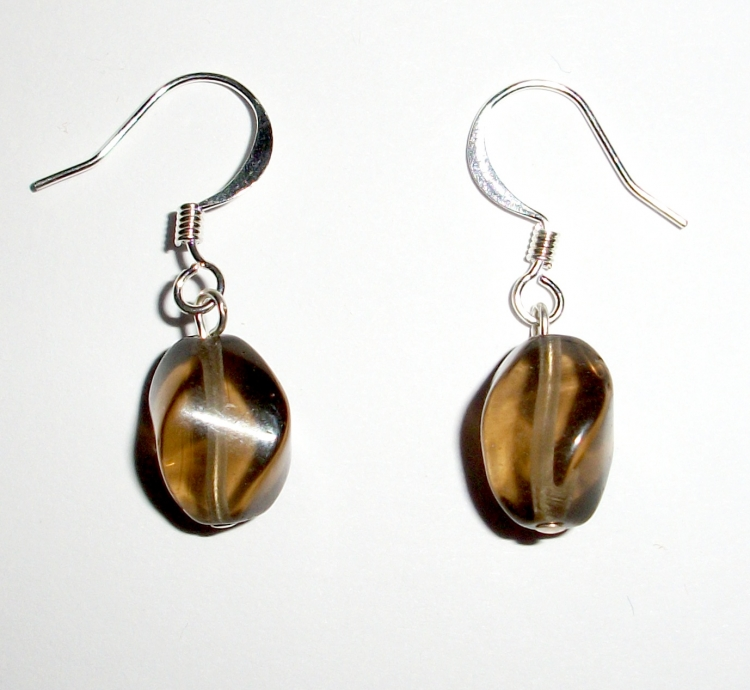 Smoky Quartz Twist Earrings