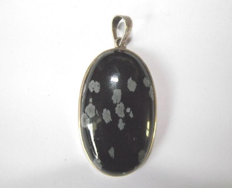 Snowflake Obsidian Gemtsone Sterling Silver Pendant