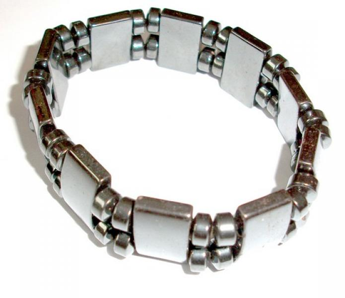 Hematite Gemstone Stretch Bracelet - Spacers