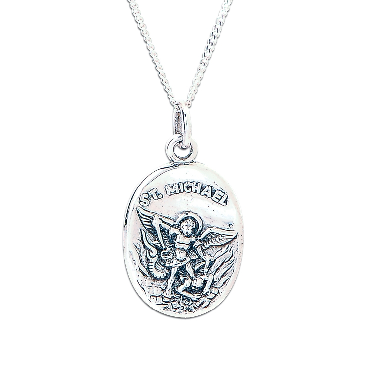 Saint Michael Sterling Silver Pendant with Chain