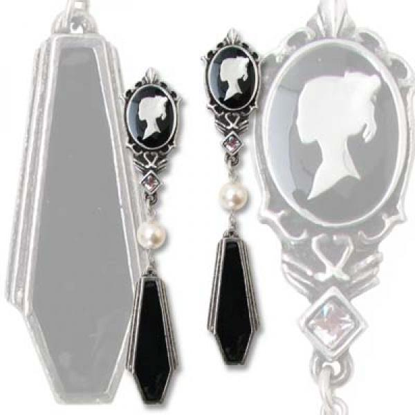 Coffin Drop Cameos Alchemy Gothic Pewter - Pair of Earrings