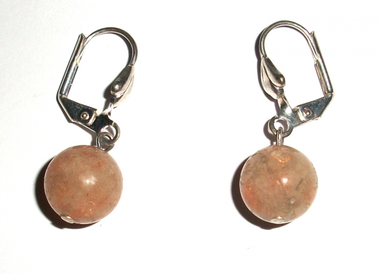 Sunstone Leverback Gemstone Earrings