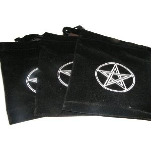 3 X Black Velvet Pentagram Crystals / Runes Bag