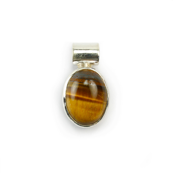 Tigers Eye Gemstone Cabachon Sterling Silver Pendant