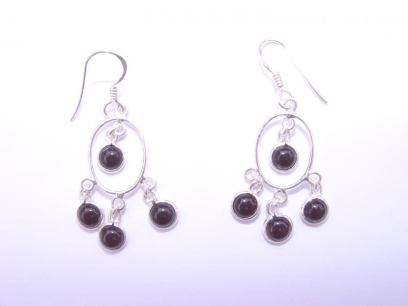Black Onyx Gemstone Cabachon Sts Earrings