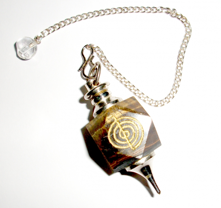 Choku Rei Carved Reiki Tiger Eye Gemstone Pendulum