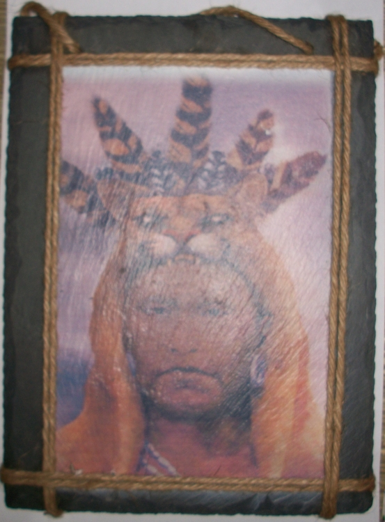 Native American Tribal Chief Slate Hanging Picture