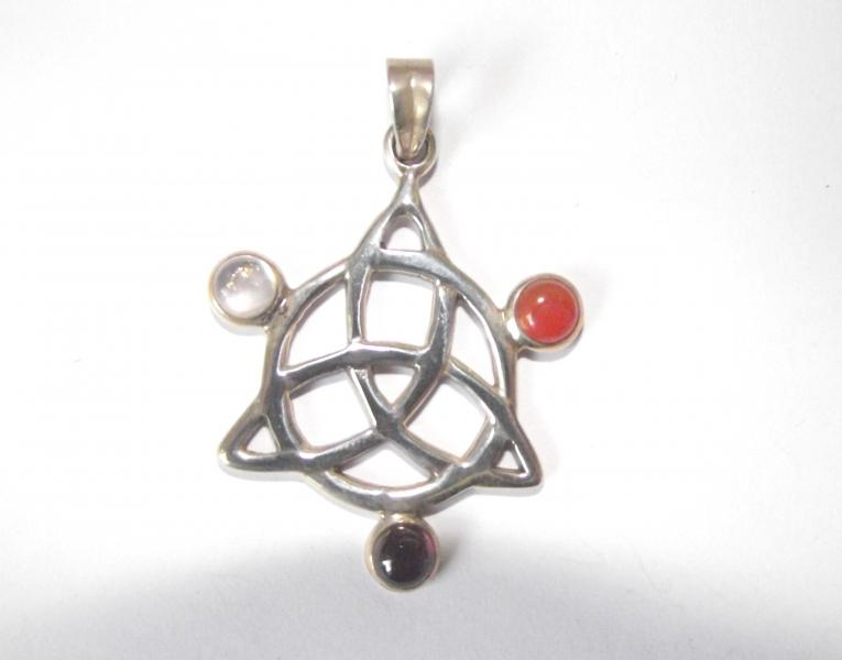 Assorted Gemstone Triquetra Pendant 6