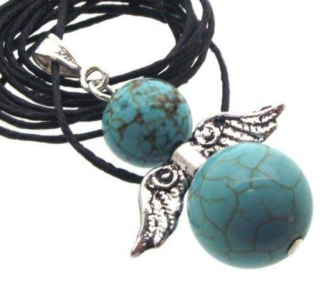 Sinkiang Turquoise Guardian Angel of Light Pendant