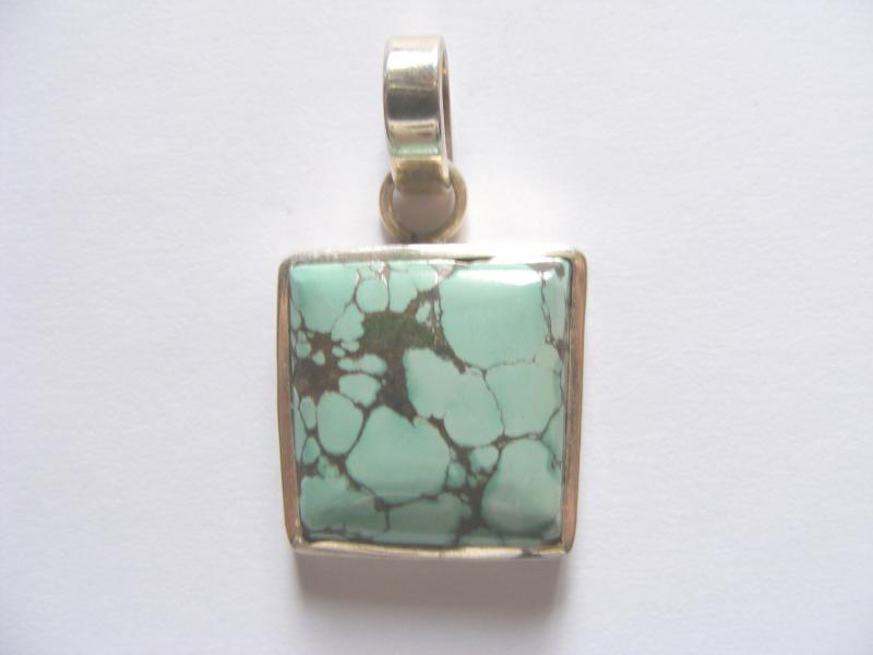 Turquoise Square Pendant - Sterling Silver