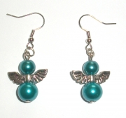 Turquoise Glass Pearl Angel Earrings