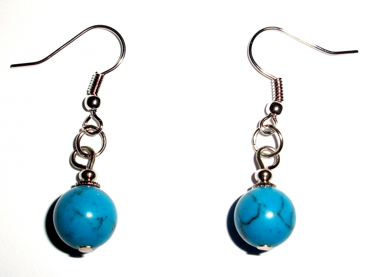 Turquoise Howlite / Turquenite Gemstone Crystal Sphere Earrings