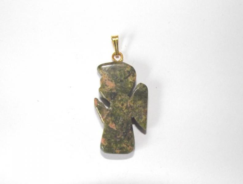 Unakite Gemstone Angel Pendant