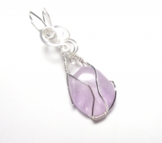 Amethyst Gemstone Crystal Wire Wrapped Unique Pendant 4