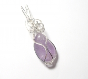 Amethyst Gemstone Crystal Wire Wrapped Unique Pendant 5