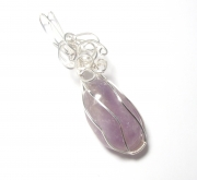 Amethyst Gemstone Crystal Wire Wrapped Unique Pendant 8