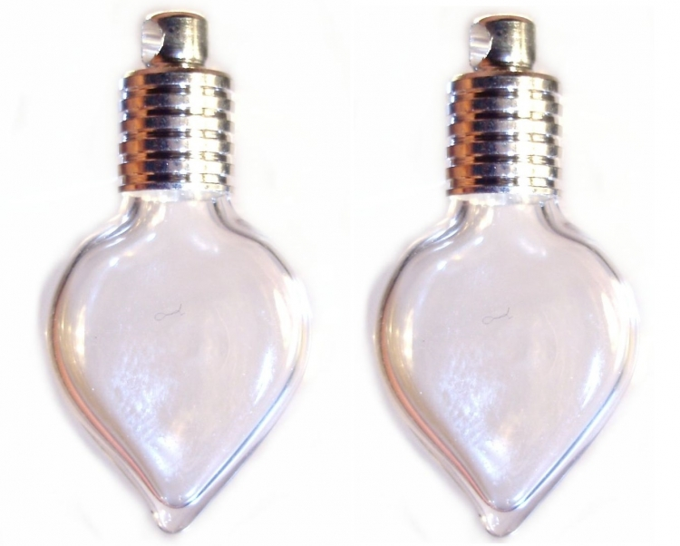 Drop Glass Vial Pendants - Set of 2