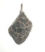 Water Sapphire / Iolite Wire Wrapped Pendant 2