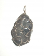 Water Sapphire / Iolite Wire Wrapped Pendant 1
