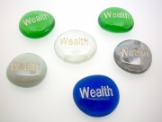Wealth Etched Glass Pebble