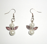 White Glass Pearl Angel Earrings