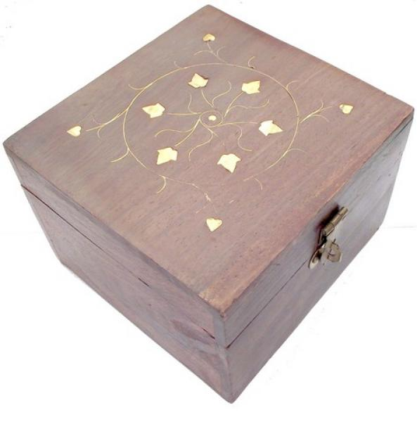 Medium Aromatherapy Carved Wooden Storage Box