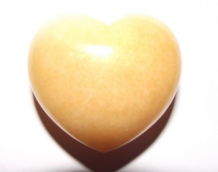 Yellow Calcite Gemstone Crystal Heart - Large