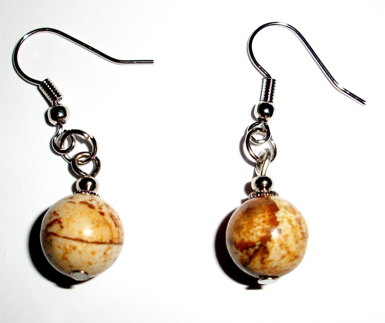 Yellow Jasper Gemstone Crystal Sphere Earrings