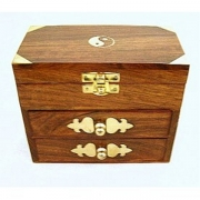Yin Yang Carved Wooden Storage Chest - three compartments